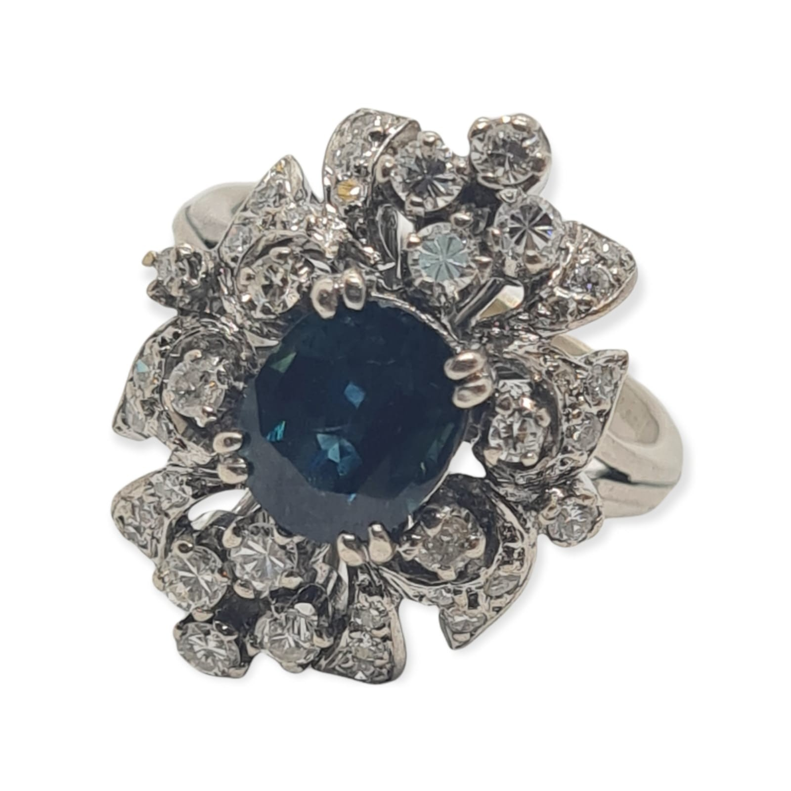 14k white gold diamond cluster ring with sapphire centre marked Tiffany & Co , weight 6.2g and