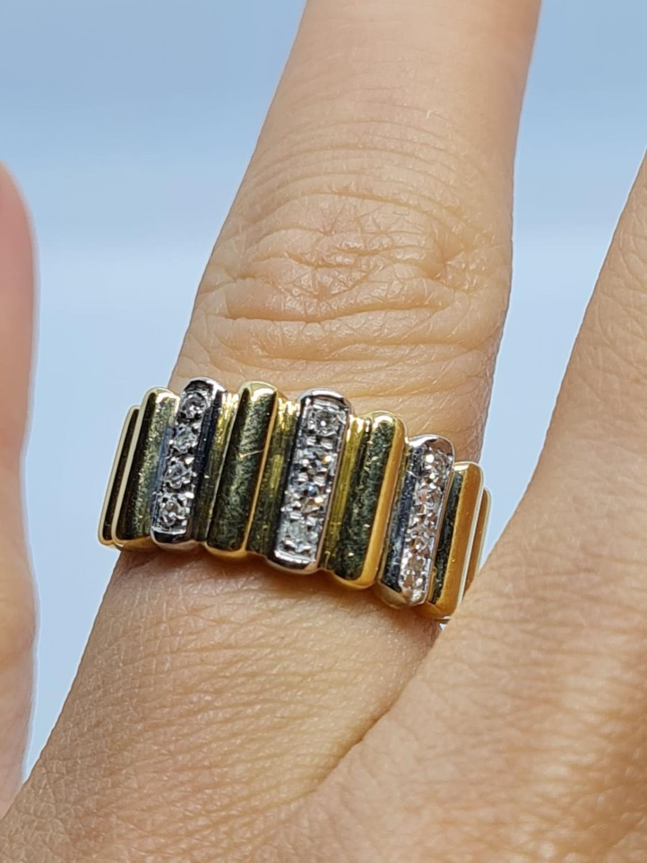 18K YELLOW DIAMOND BAND RING WEIGHT 5.5G SIZE L - Image 5 of 5
