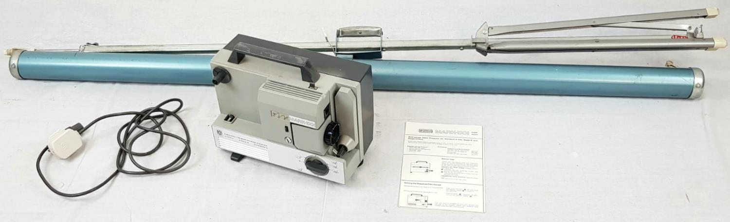 EUMIG 8MM PROJECTOR IN WORKING ORDER PLUS A COLLAPSABLE SCREEN(slight damage but still usable