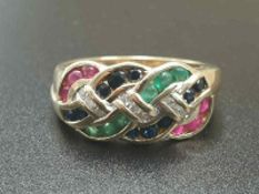 9K YELLOW GOLD VINTAGE MULTI STONE SET RING WITH DIAMOND, RUBY, SAPPHIRE & EMERALD , WEIGHT 4.3G
