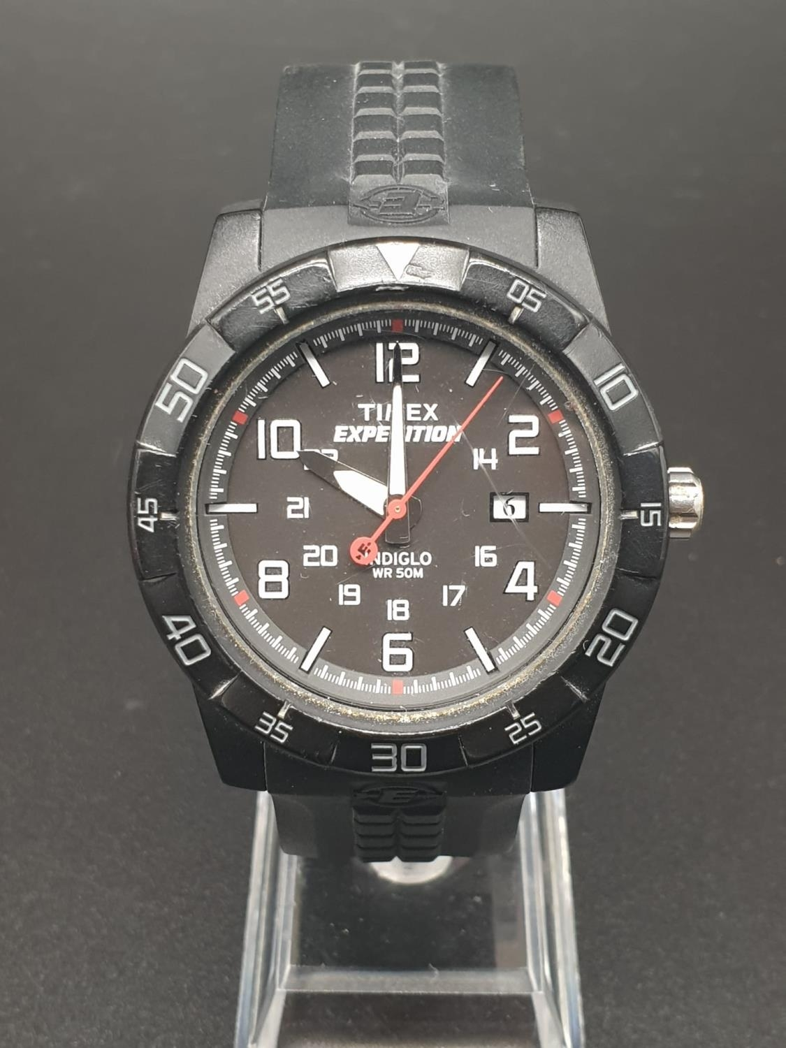 Timex Expedition Watch. Black rubber strap. Black dial. As found.