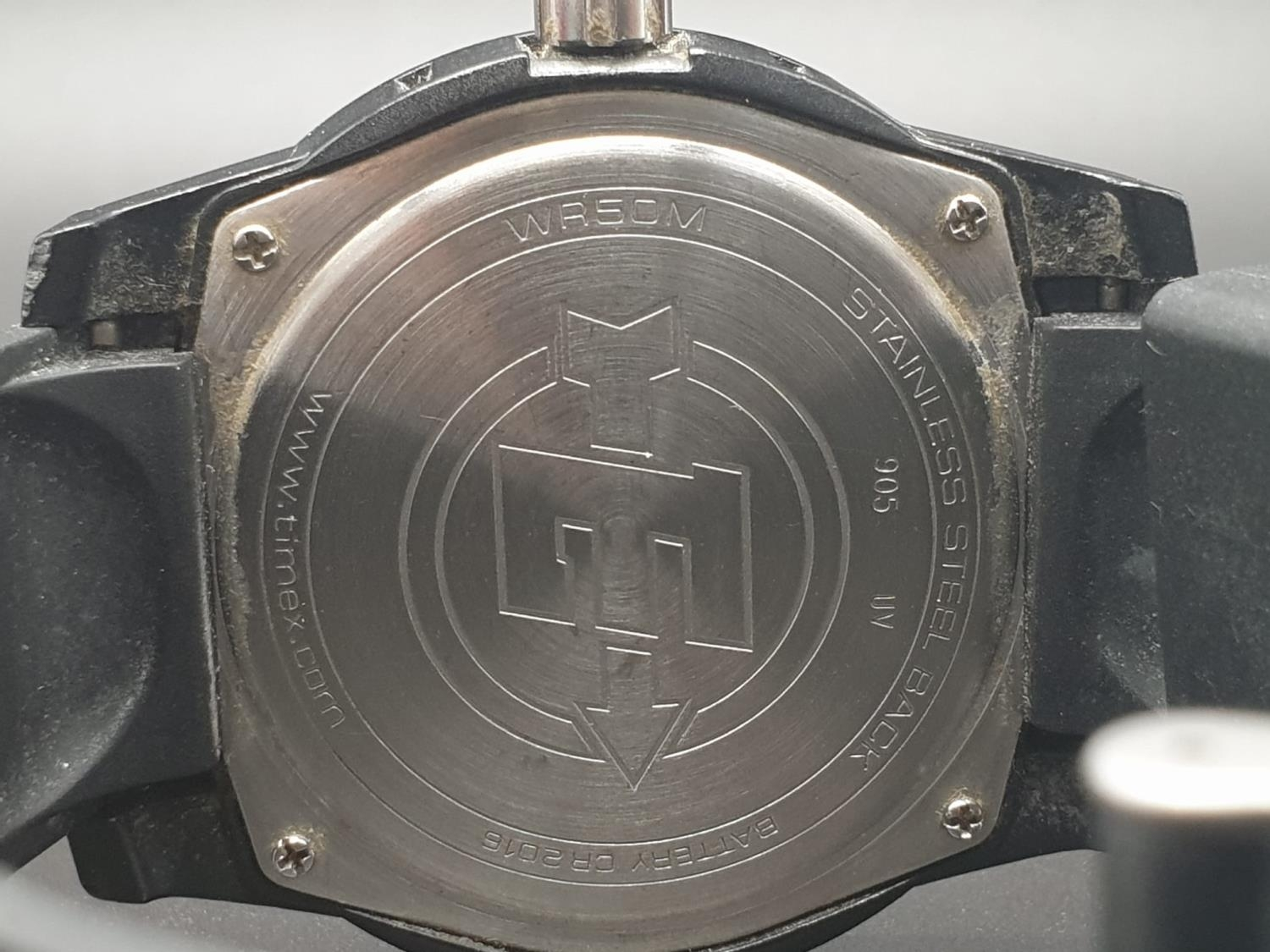 Timex Expedition Watch. Black rubber strap. Black dial. As found. - Image 8 of 9