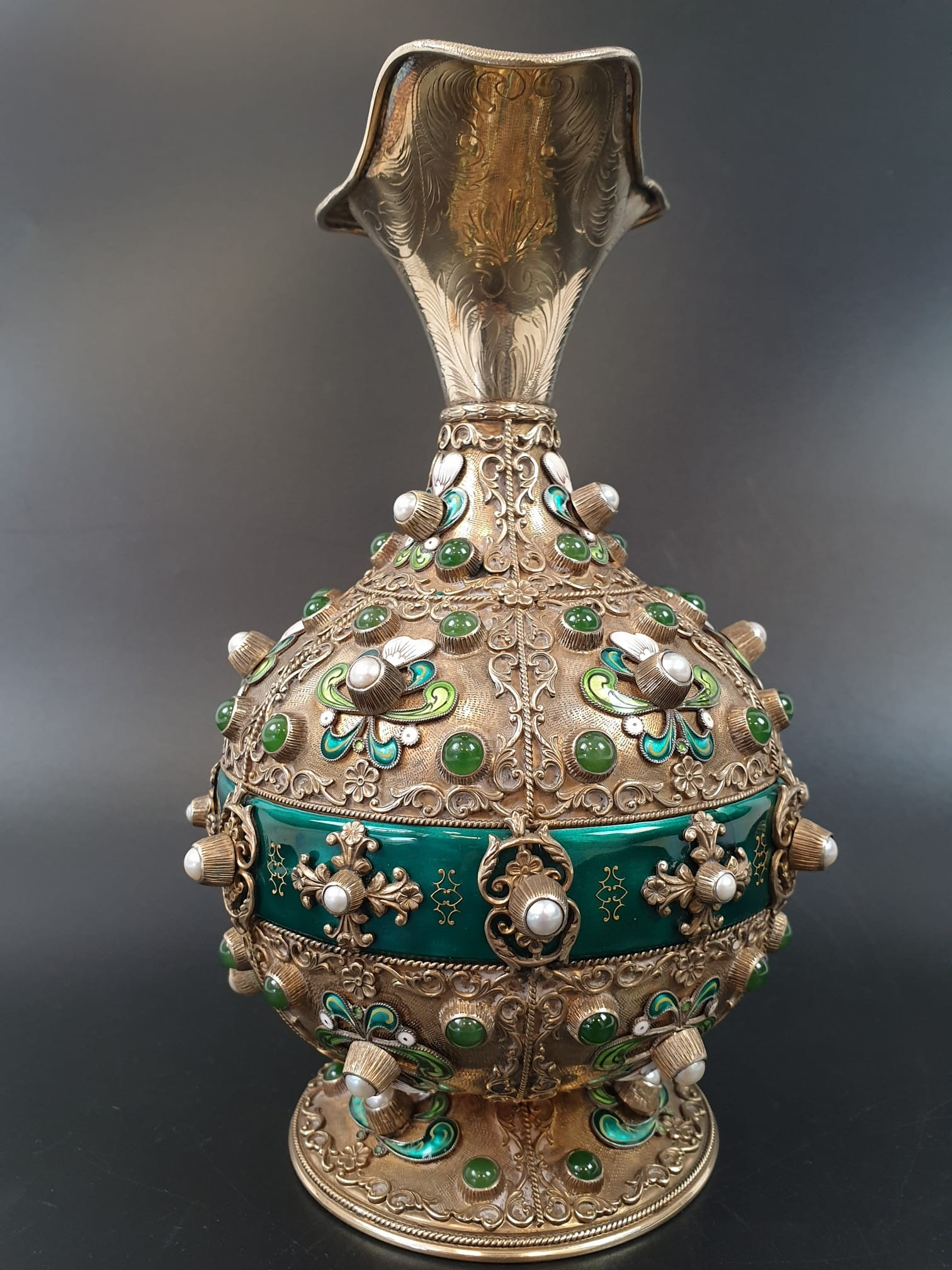 Antique Austrian silver gilt pearl and jade large jug, hand decorated and engraved . 857gms 23 cms. - Image 2 of 15