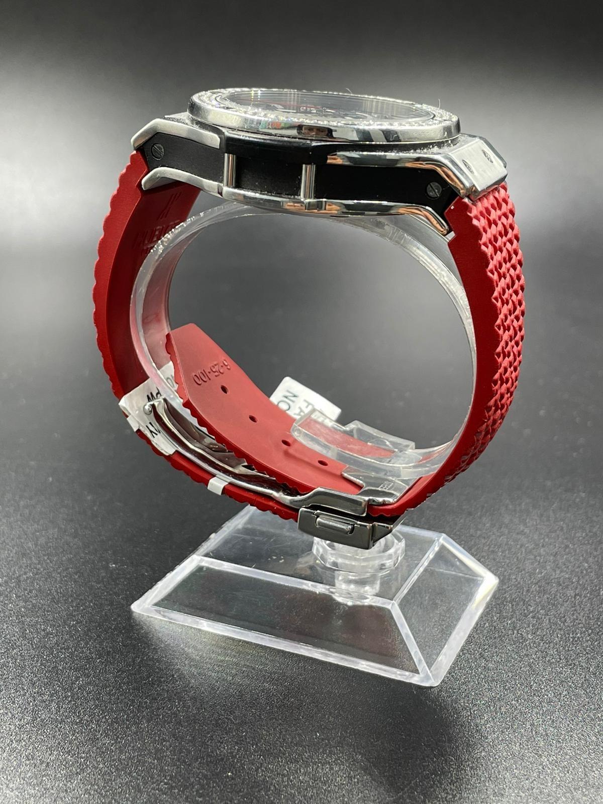 Hublot Big Bang chronometer watch with black face and original diamond dial - Image 4 of 5