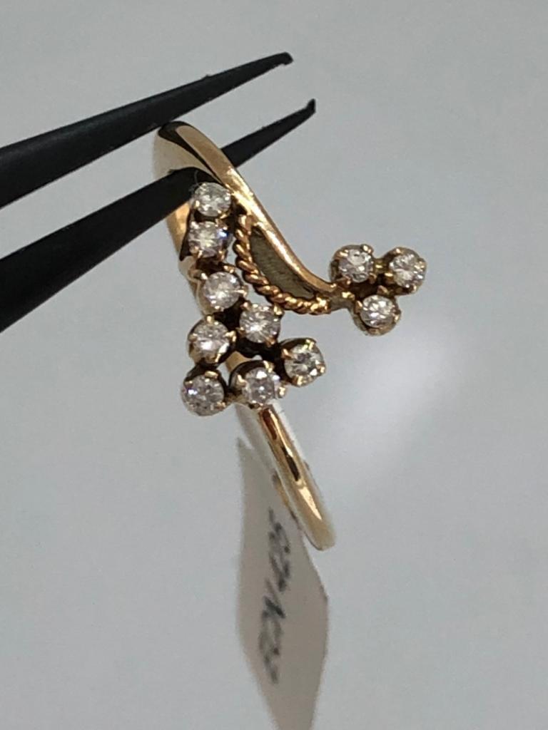 14k yellow gold diamond (0.11cts) ring 2.7g size M; - Image 2 of 2