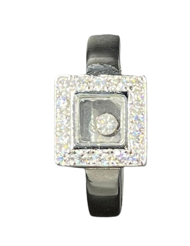 Chopard 18k white gold diamonds set square face ring, weight 11.1g and size L1/2 (RRP £3500)