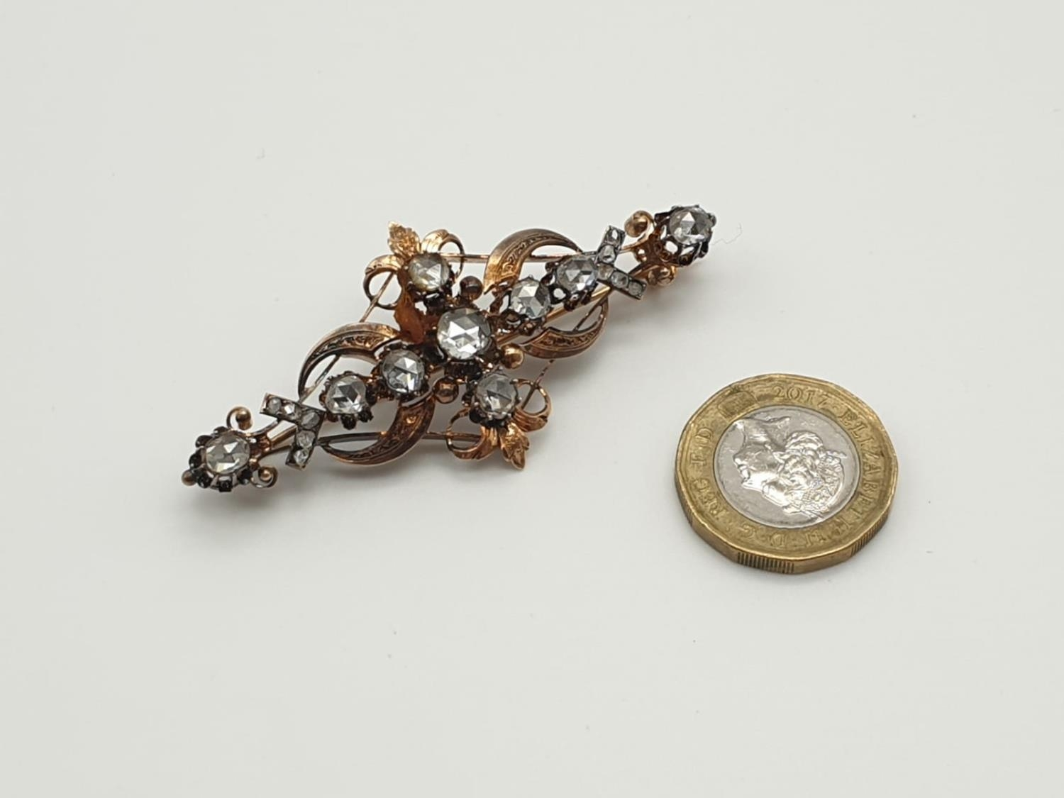 Impressive Antique Edwardian rose gold brooch with over 3ct of rose diamonds, weight 9.1g and 7cm - Image 5 of 5
