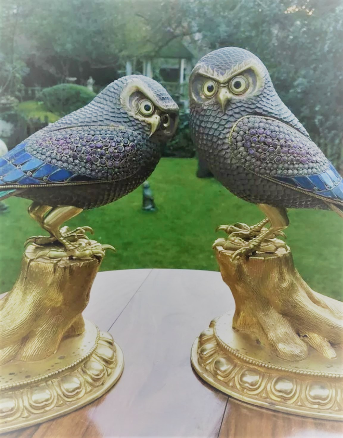 Incredible 20thC pair of beautiful silver and bronze owls set with malachite ,Lapis lazuli and - Image 4 of 5