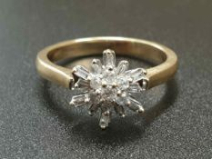 9K YELLOW GOLD DIAMOND SET FANCY CLUSTER RING FLOWER DESIGN WEIGHT 3.3G SIZE O1/2
