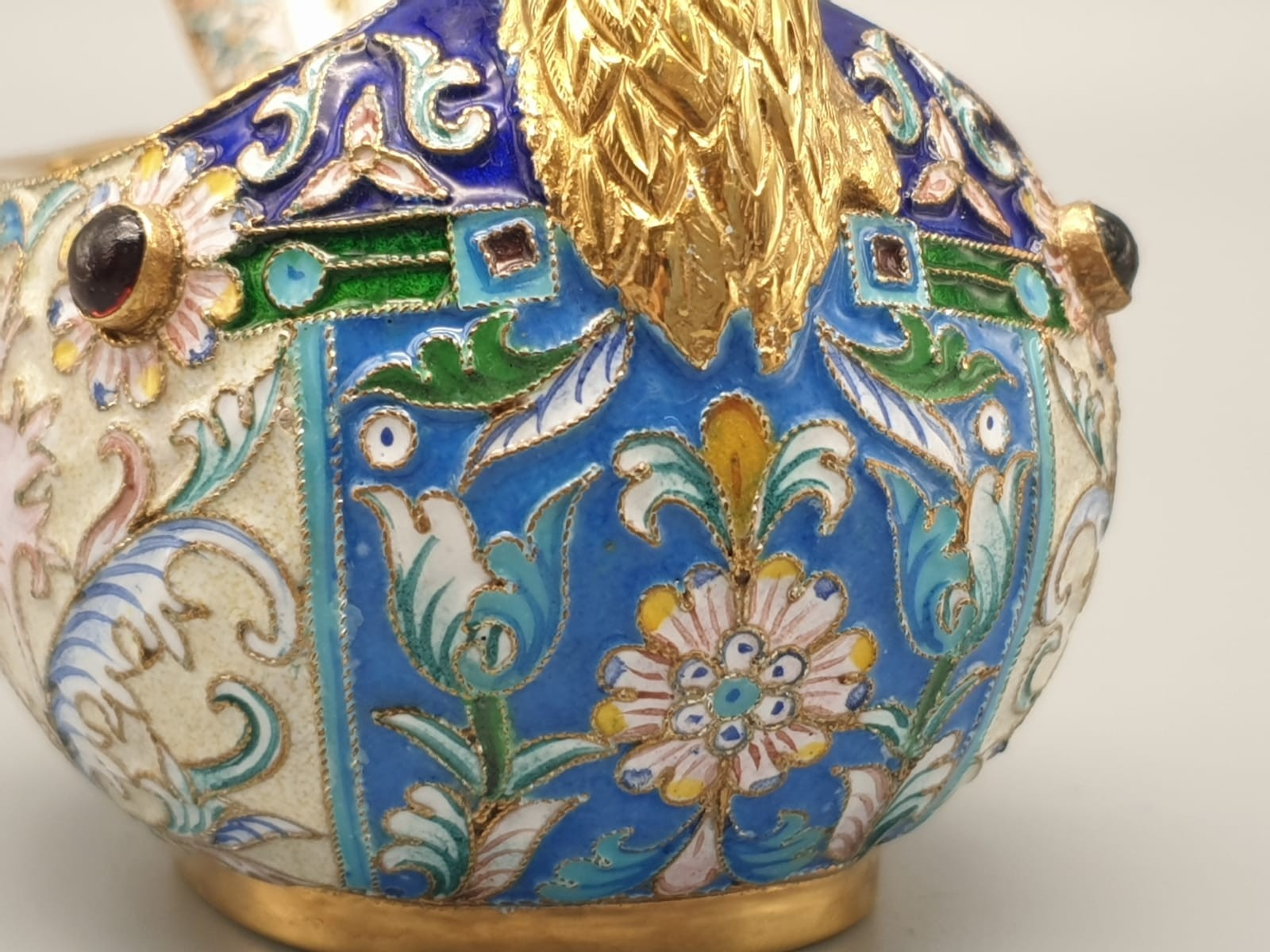 Pair of Russian 20th century silver enamel gemset kavosch bowl in the form of birds, an exquisite - Image 6 of 29