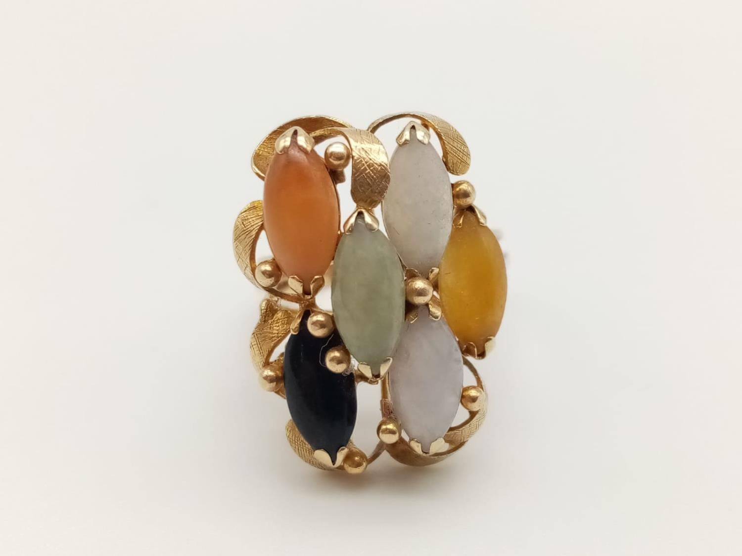 14k vintage yellow gold multi stone set, weight 7.9g and size P