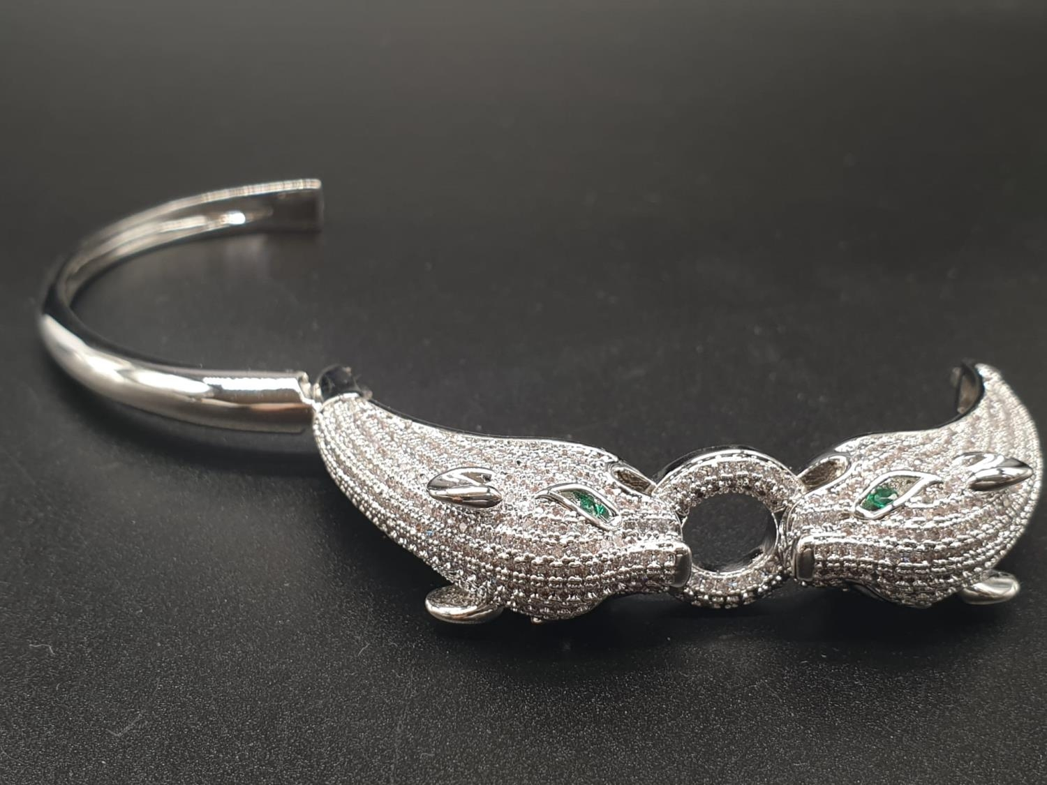 A white metal (untested) Cartier Panther style bracelet and earrings set In a presentation box. Ring - Image 7 of 15