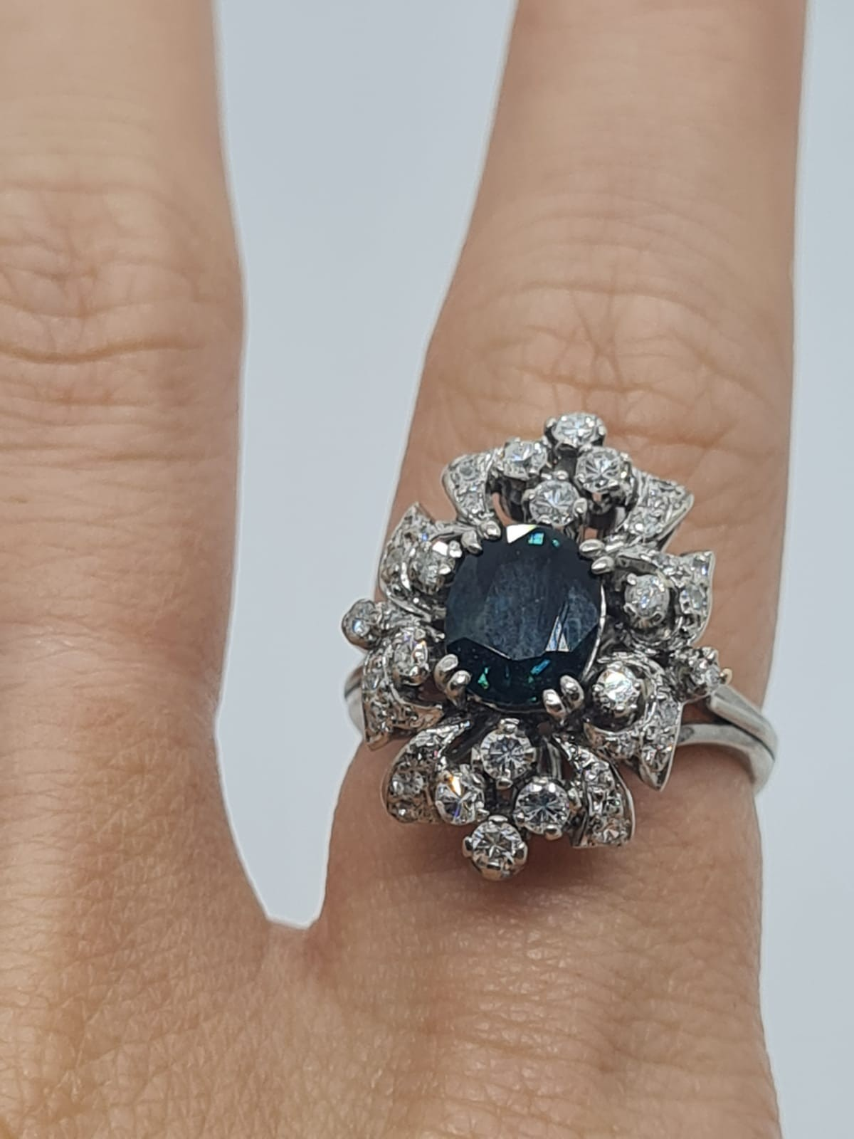 14k white gold diamond cluster ring with sapphire centre marked Tiffany & Co , weight 6.2g and - Image 4 of 7