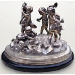 ANTIQUE early 20th century FRENCH SOLID SILVER CENTREPIECE BY TETARD FRERES. Depicting a Bacchanalia