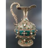 Antique Austrian silver gilt pearl and jade large jug, hand decorated and engraved . 857gms 23 cms.