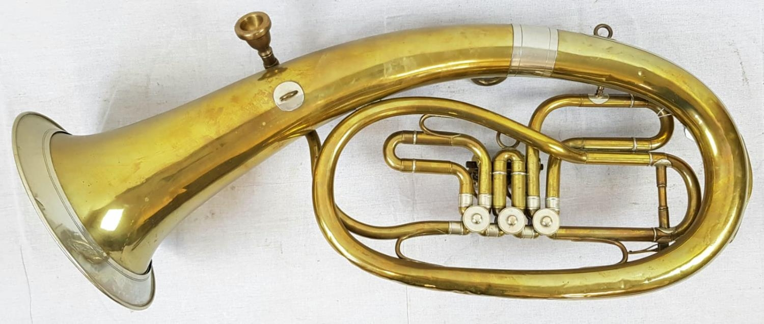 A VINTAGE CZECH MADE BRASS TUBA (A FEW DENTS BUT GOOD WORKING ORDER) total length 78cms - Image 2 of 4
