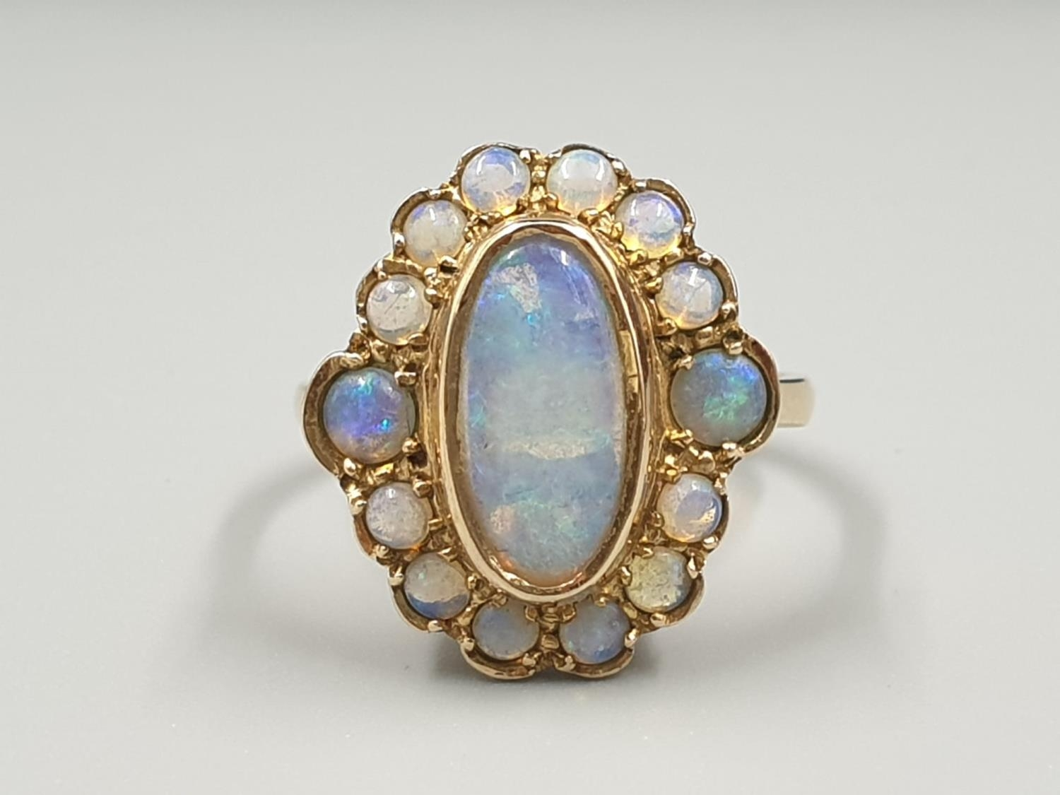9K YELLOW GOLD VINTAGE OPAL CLUSTER RING WEIGHT 4.3G SIZE N