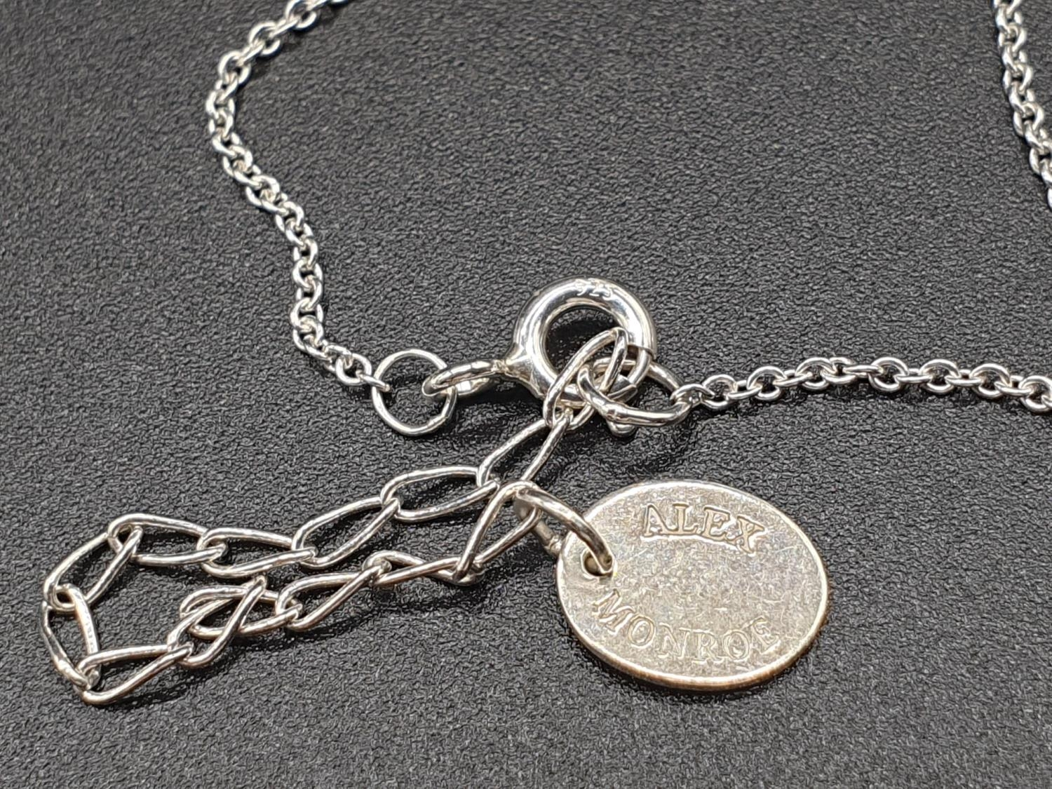 ALEX MONROE STERLING SILVER BIG FEATHER PENDANT ON EXTENDABLE NECKLACE - Image 6 of 6