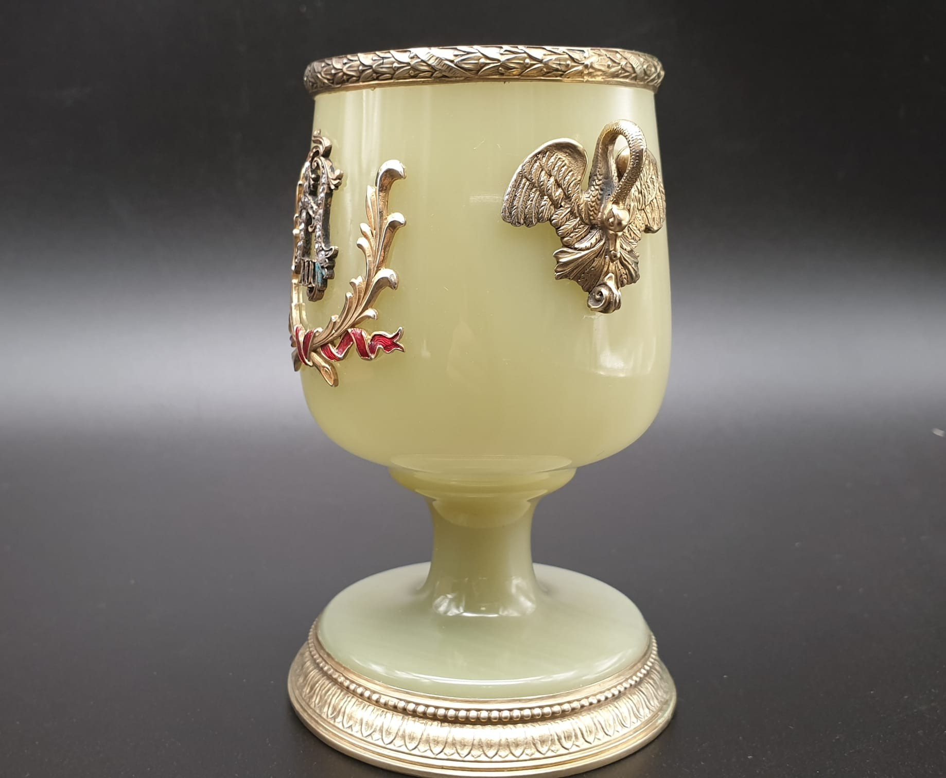 Russian silver gilt enamel diamond and jade large goblet cup in original box. 269.4gms 11cms in - Image 4 of 15