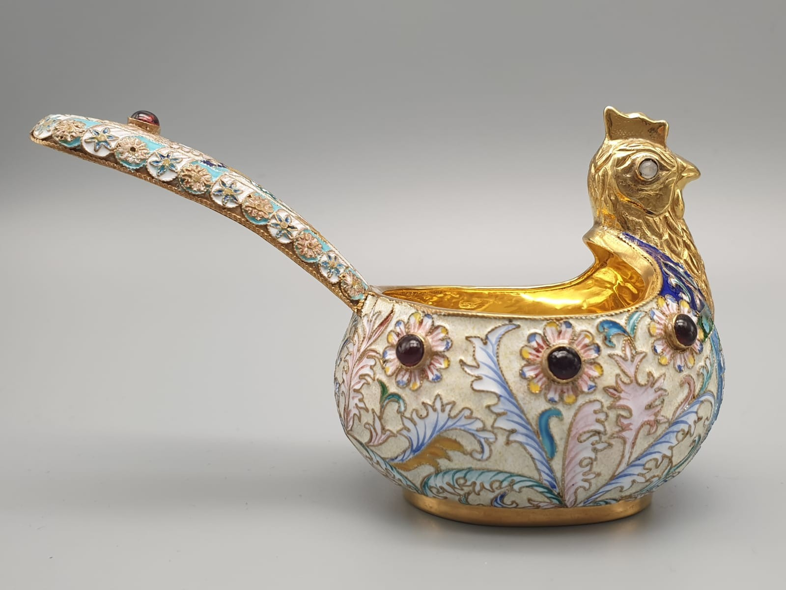 Pair of Russian 20th century silver enamel gemset kavosch bowl in the form of birds, an exquisite - Image 12 of 29