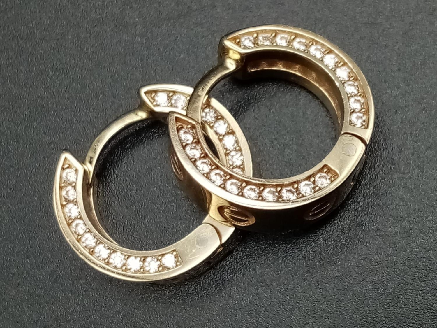 9CT YELLOW GOLD CZ SET CARTIER STYLE MINI HOOP EARRINGS, WEIGHT 4.8G - Image 2 of 5