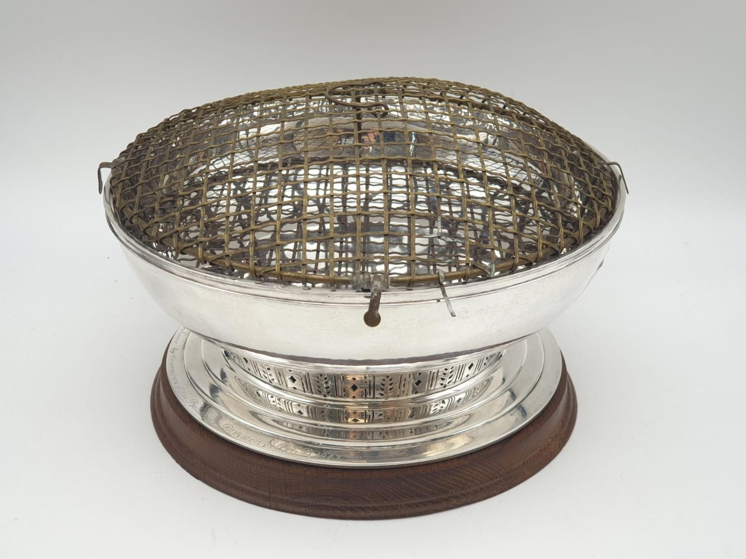Mappin and Webb Silver Rose Bowl (1938). Pierced Decoration, Oak Stand and Wire Web Top. Inscription