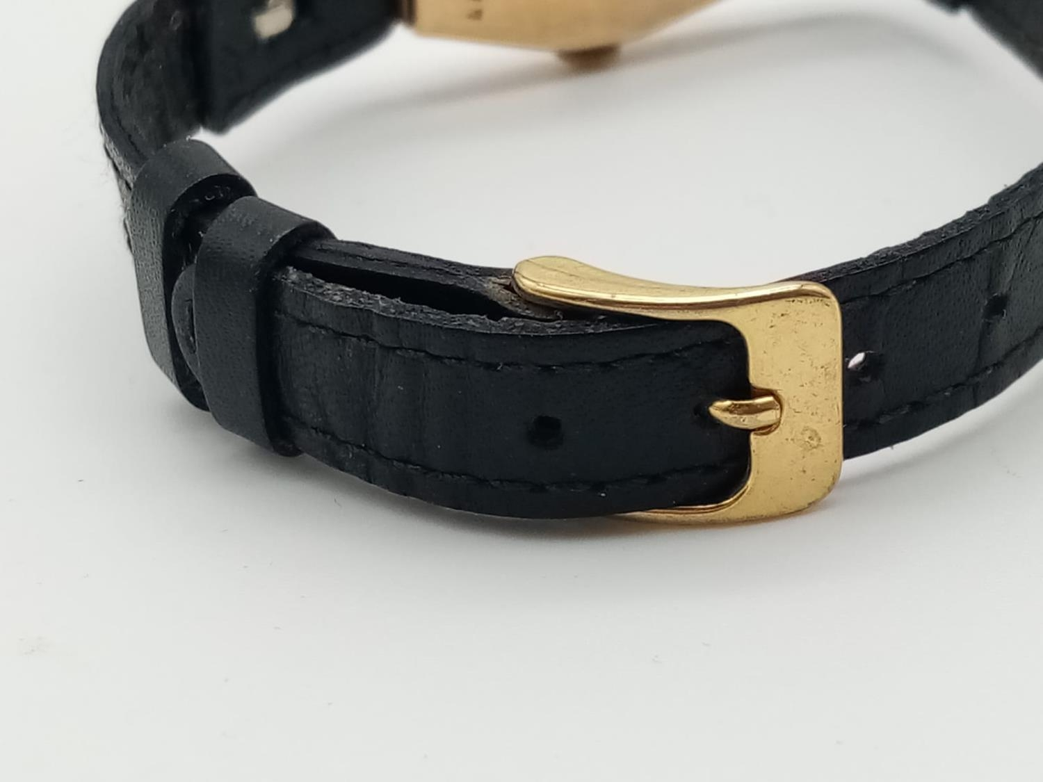 VINTAGE ROLEX 9K GOLD LADIES WRIST WATCH ON LEATHER STRAP. 16MM FWO - Image 6 of 6