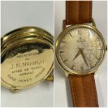 Vintage Rare 18ct Gold Zenith Watch presented from the Rand Gold Mine South Africa. Good Working