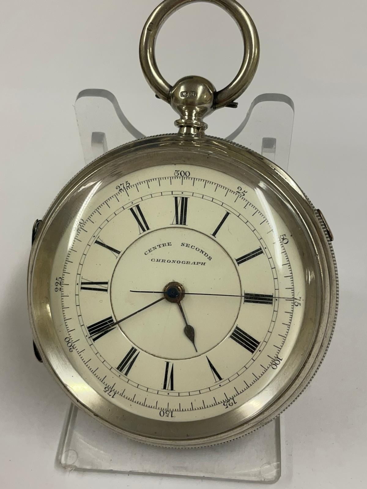 Antique Large silver stop seconds chronograph pocket watch J Harris & sons London & Manchester , - Image 8 of 10