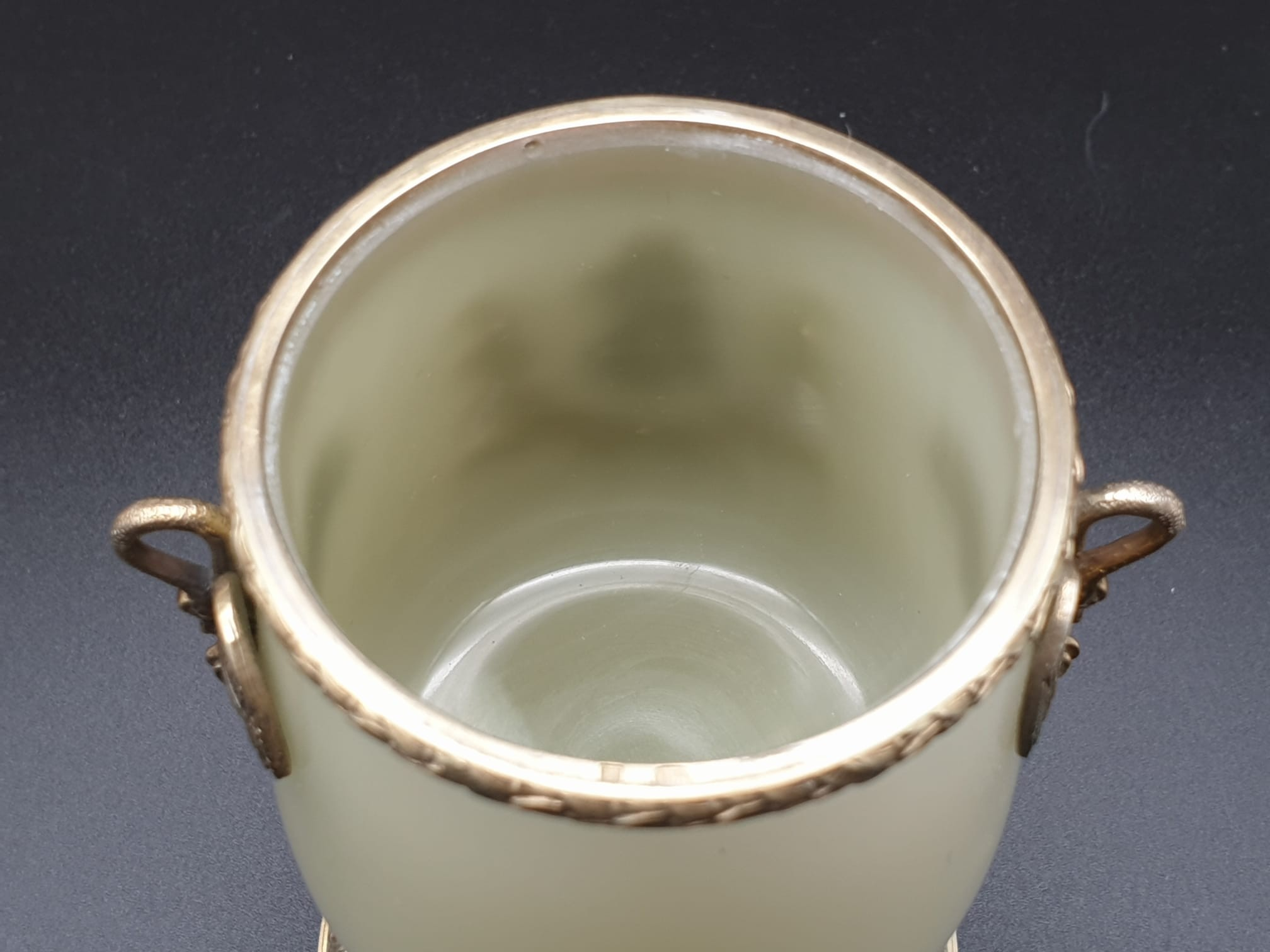 Russian silver gilt enamel diamond and jade large goblet cup in original box. 269.4gms 11cms in - Image 8 of 15