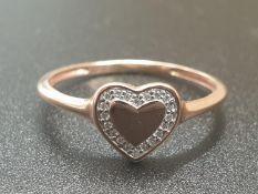 9K ROSE GOLD DIAMOND SET HEART RING WEIGHT 1.3G SIZE N