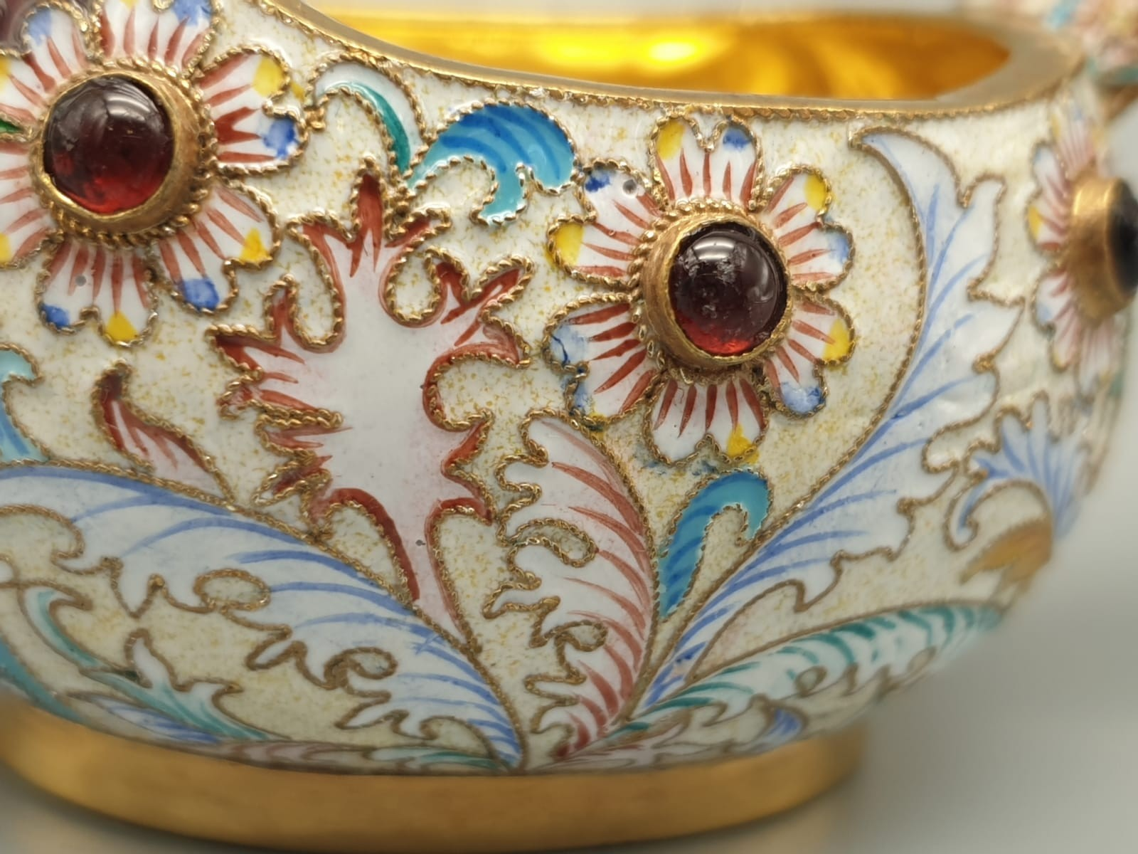 Pair of Russian 20th century silver enamel gemset kavosch bowl in the form of birds, an exquisite - Image 22 of 29