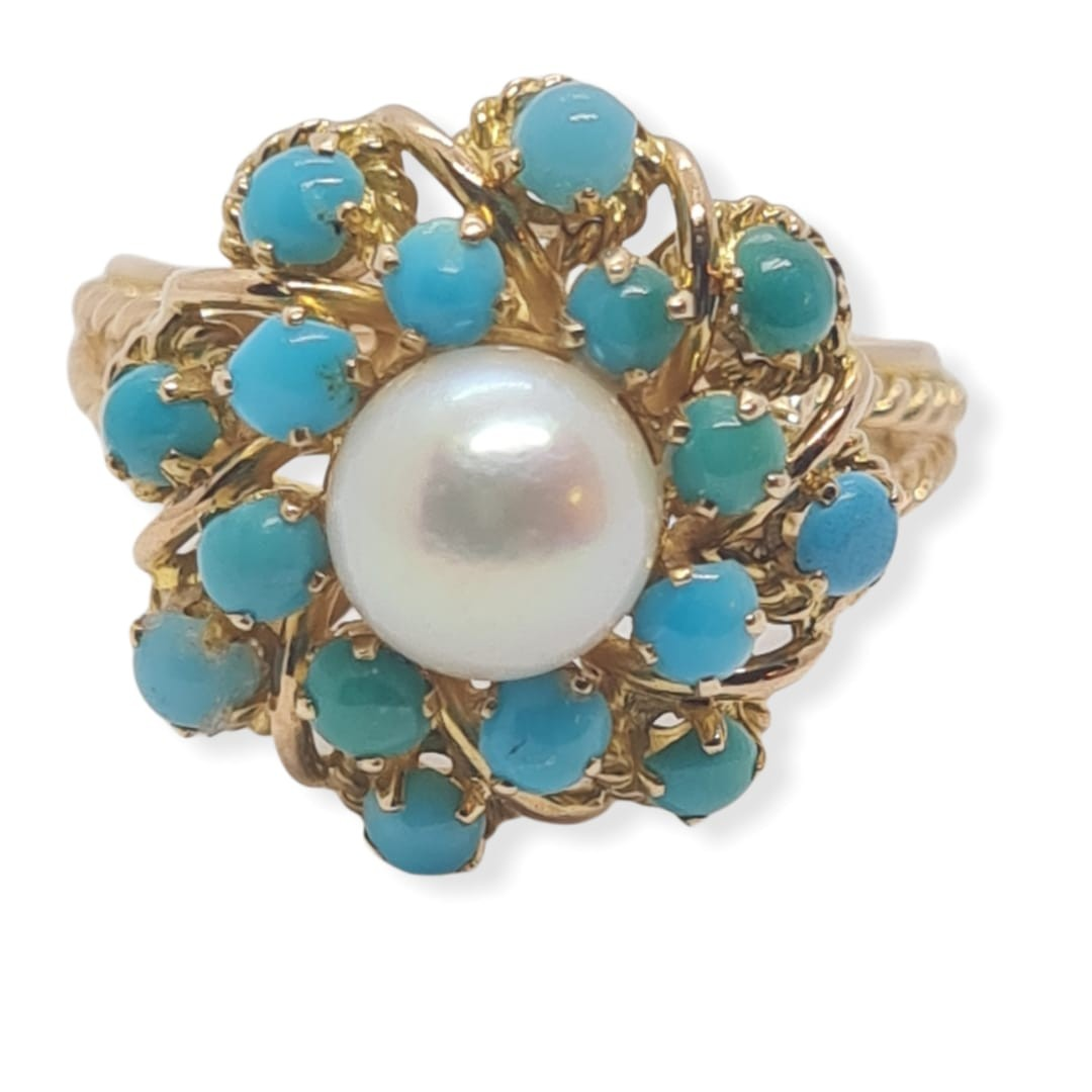 18k yellow gold TURQUISE AND PEARL CLUSTER RING, weight 5.3g and size J1/2