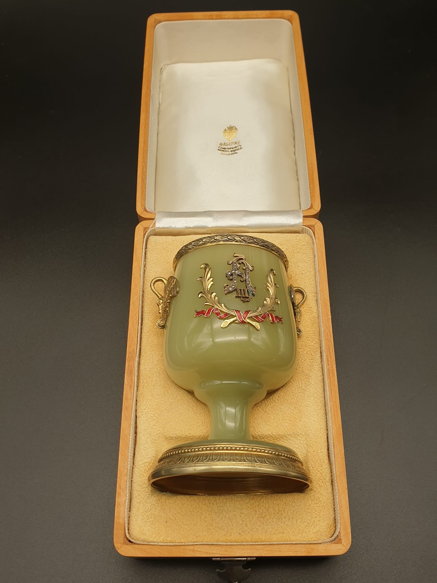 Russian silver gilt enamel diamond and jade large goblet cup in original box. 269.4gms 11cms in - Image 7 of 15