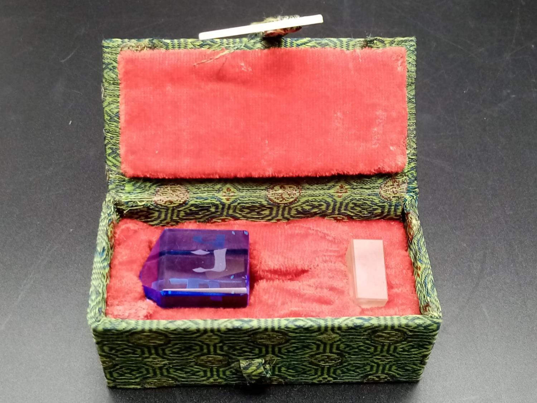 Vintage Blue Glass Dreidel in Original Box. - Image 6 of 6