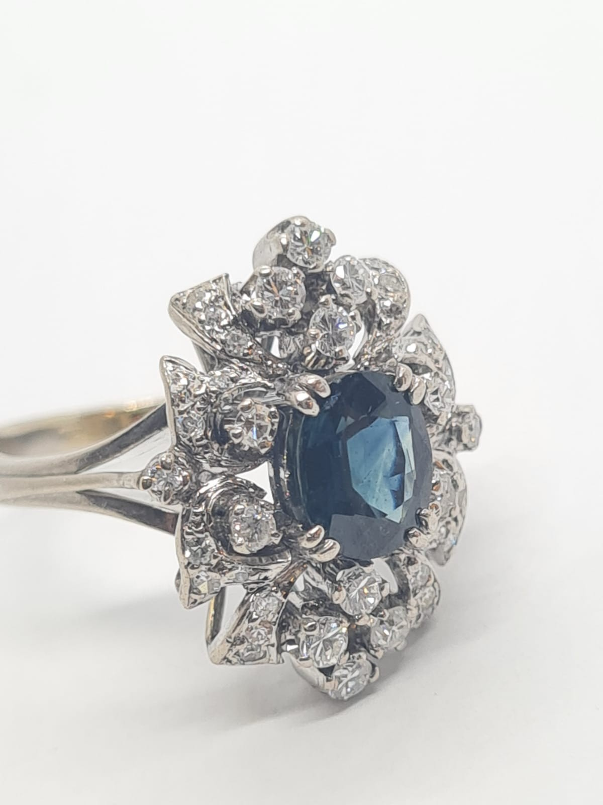 14k white gold diamond cluster ring with sapphire centre marked Tiffany & Co , weight 6.2g and - Image 2 of 7