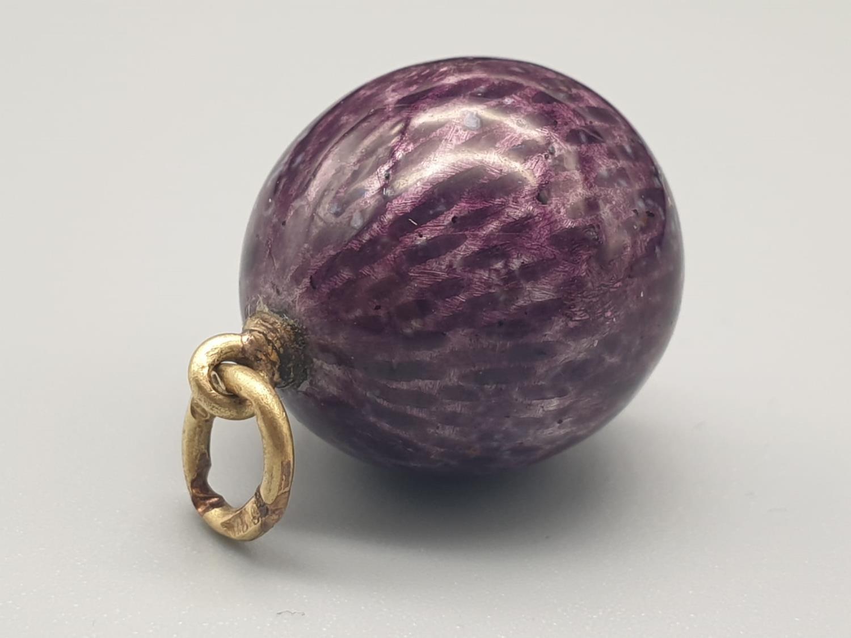 Russian egg pendant 14k enamel purple diamond 20th century. 8.5gms 2cm drop - Image 3 of 6