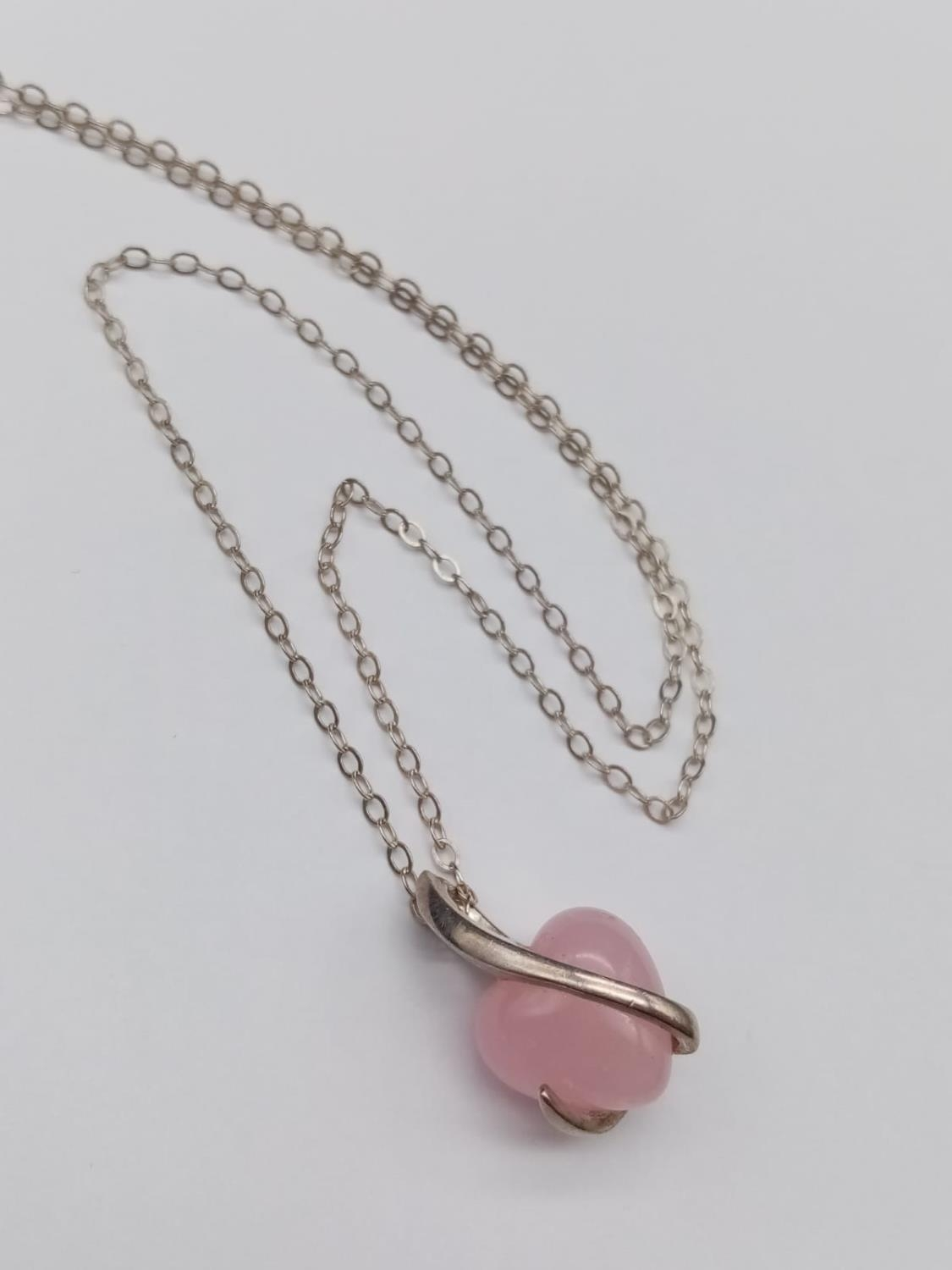 Silver Stone Set Pendant Necklace on 16 inch Sterling Silver Chain in a presentation box. 5g
