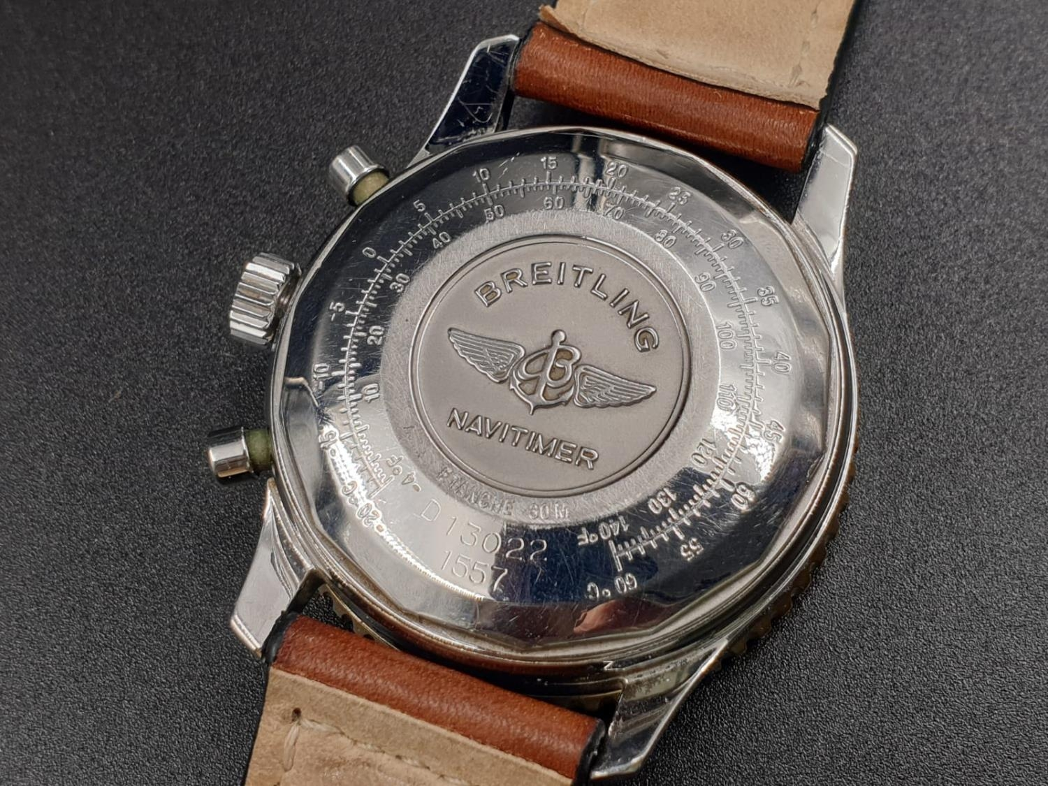 A BREITLING NAVITIMER CHRONOMETER AUTOMATIC MOVEMENT ON A LEATHER STRAP. 42mm - Image 10 of 10