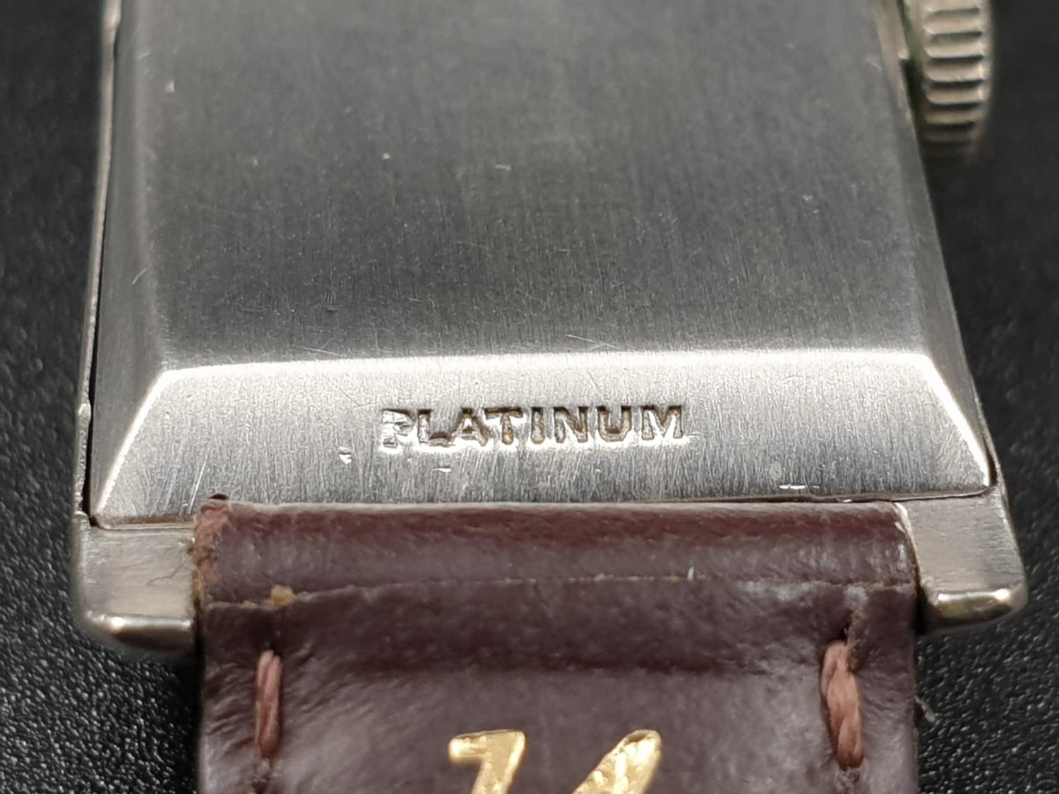 A PLATINUM LONGINES WRIST WATCH WITH DIAMOND NUMBERS. 20mm manual movement. - Image 8 of 9