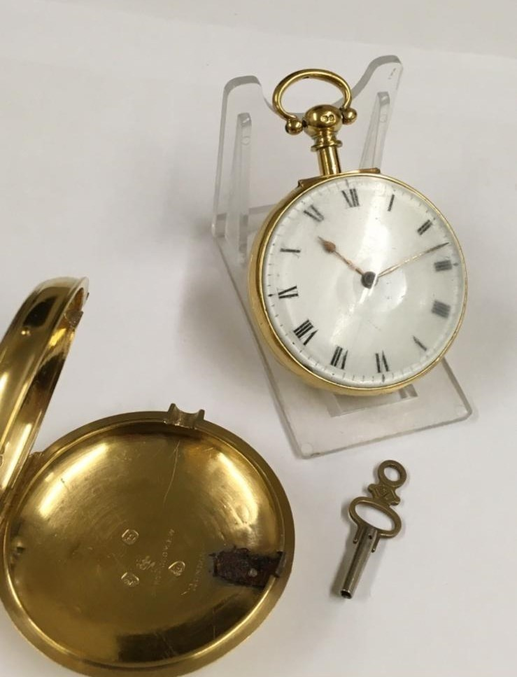 Antique gilt verge fusee pocket watch , working but sold with no garantees 147.8g - Image 2 of 12