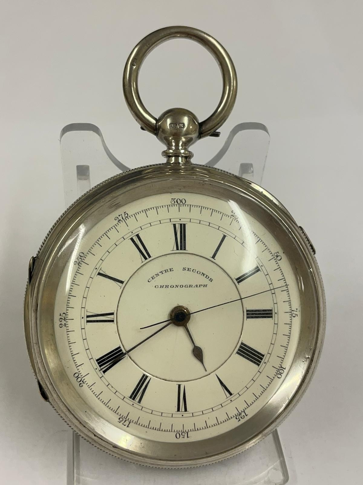 Antique Large silver stop seconds chronograph pocket watch J Harris & sons London & Manchester , - Image 5 of 10