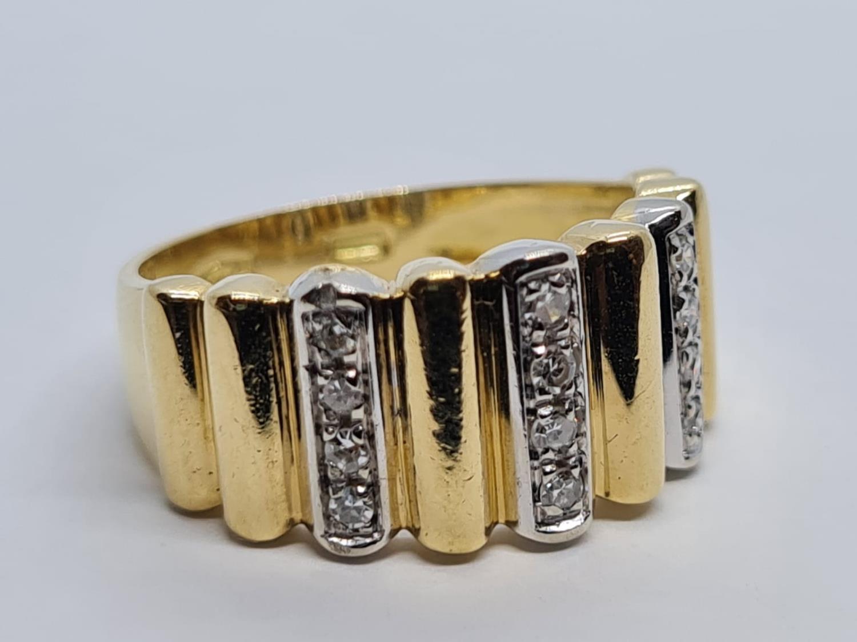 18K YELLOW DIAMOND BAND RING WEIGHT 5.5G SIZE L - Image 2 of 5