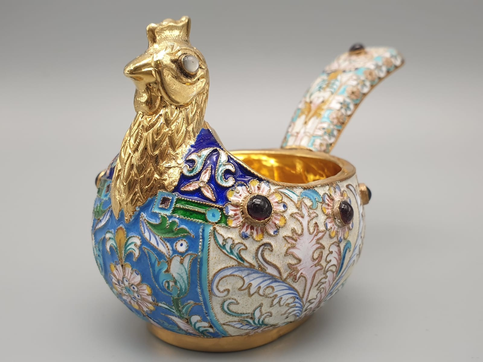 Pair of Russian 20th century silver enamel gemset kavosch bowl in the form of birds, an exquisite - Image 28 of 29