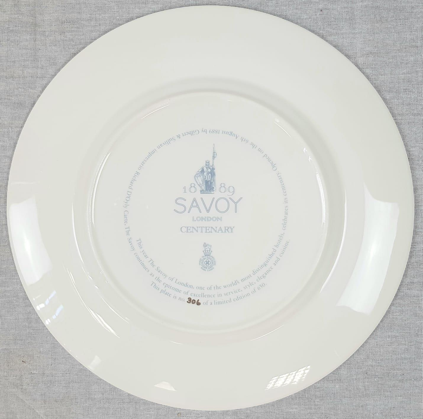 Limited Edition Royal Doulton Savoy Plate. Centenary edition. 1889-1989. 27cm diameter. As New, in - Image 3 of 4