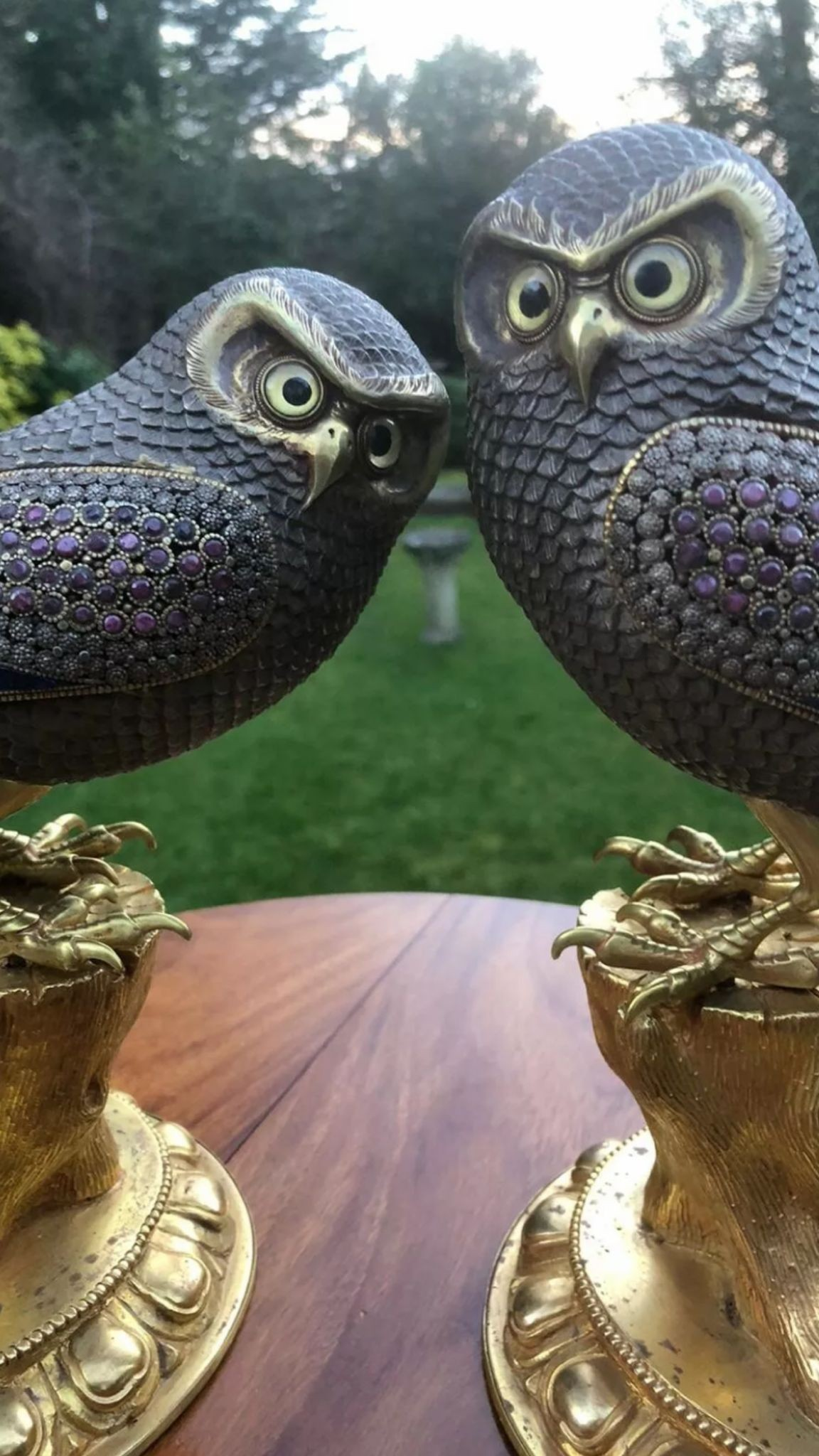 Incredible 20thC pair of beautiful silver and bronze owls set with malachite ,Lapis lazuli and - Image 5 of 5