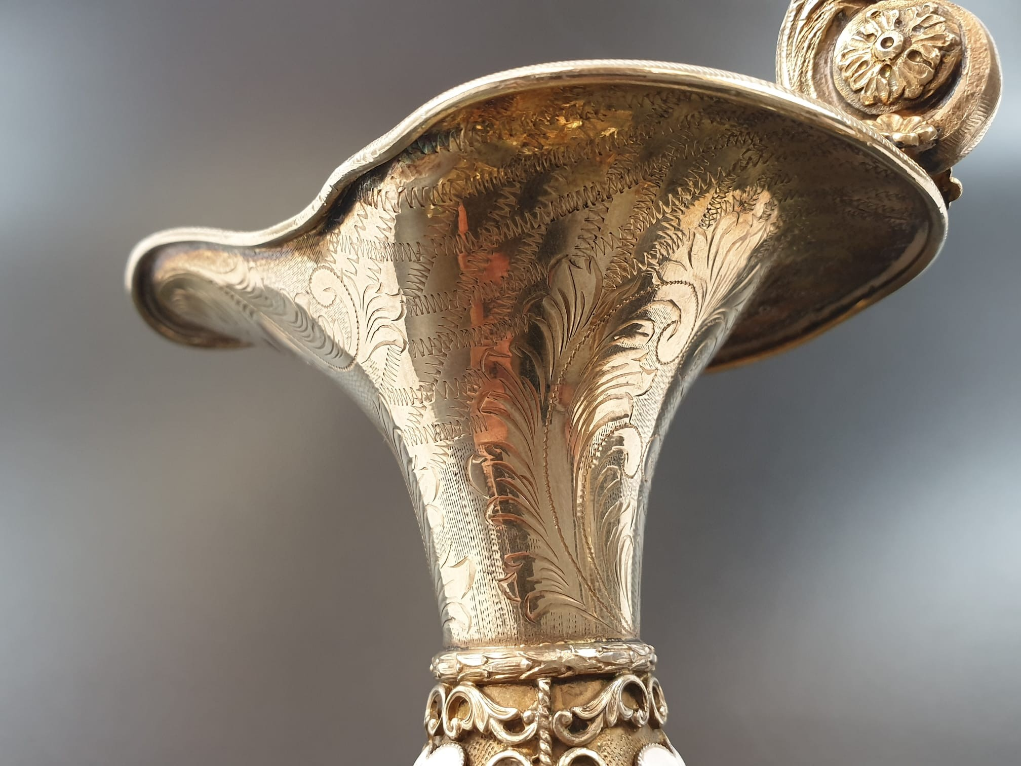 Antique Austrian silver gilt pearl and jade large jug, hand decorated and engraved . 857gms 23 cms. - Image 8 of 15