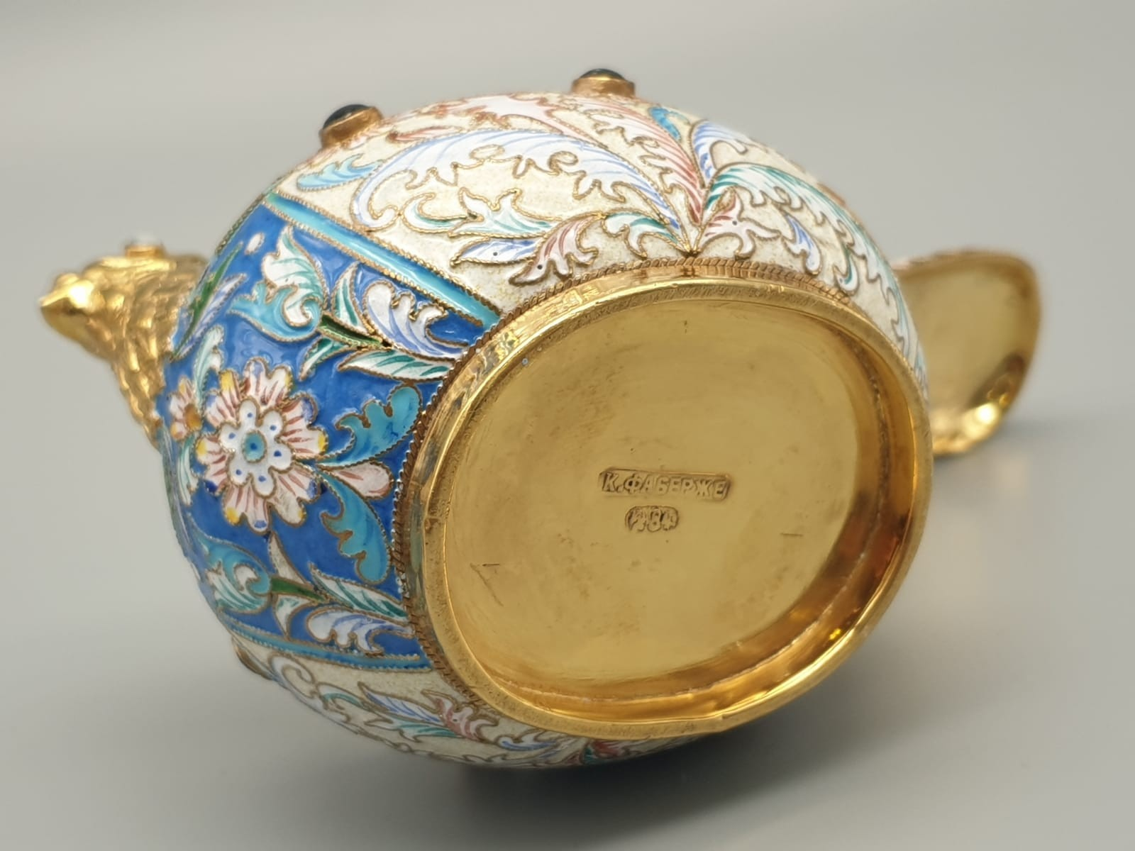 Pair of Russian 20th century silver enamel gemset kavosch bowl in the form of birds, an exquisite - Image 17 of 29