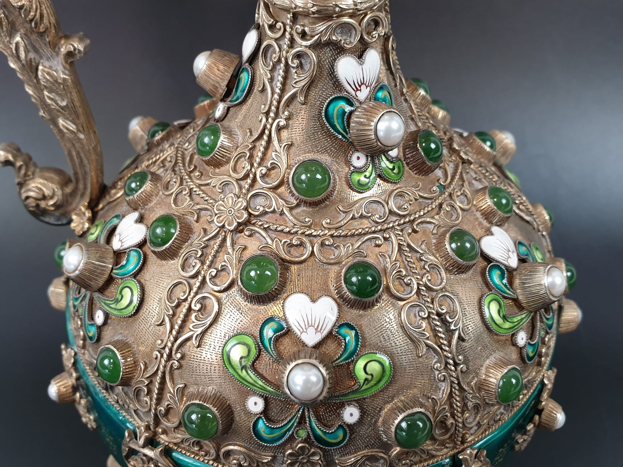 Antique Austrian silver gilt pearl and jade large jug, hand decorated and engraved . 857gms 23 cms. - Image 7 of 15