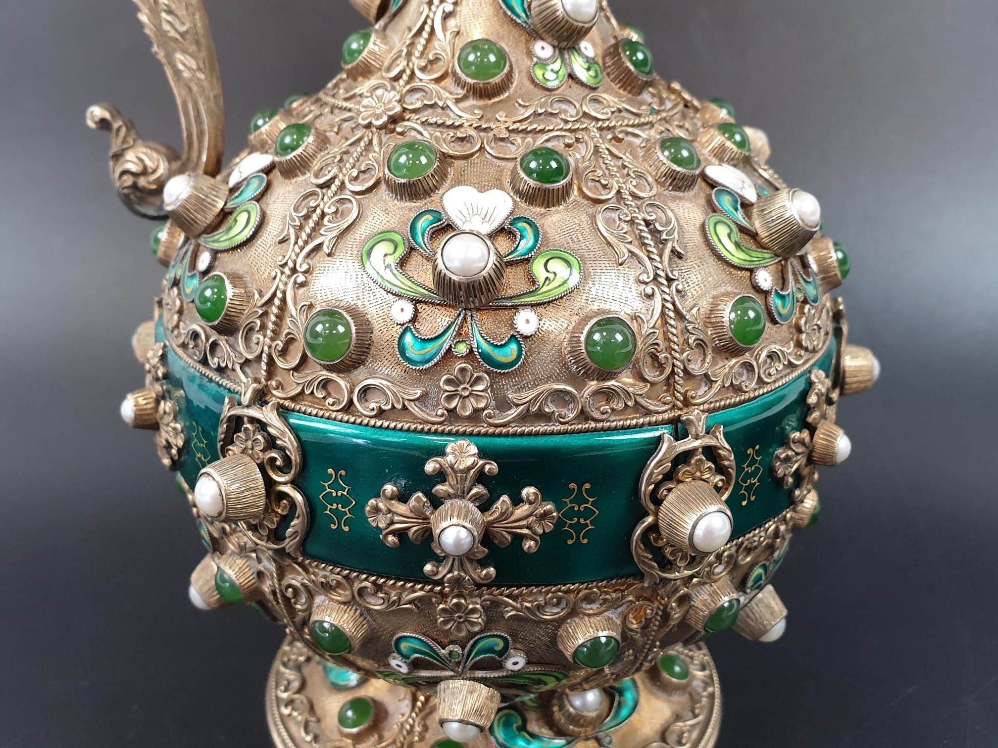 Antique Austrian silver gilt pearl and jade large jug, hand decorated and engraved . 857gms 23 cms. - Image 11 of 15